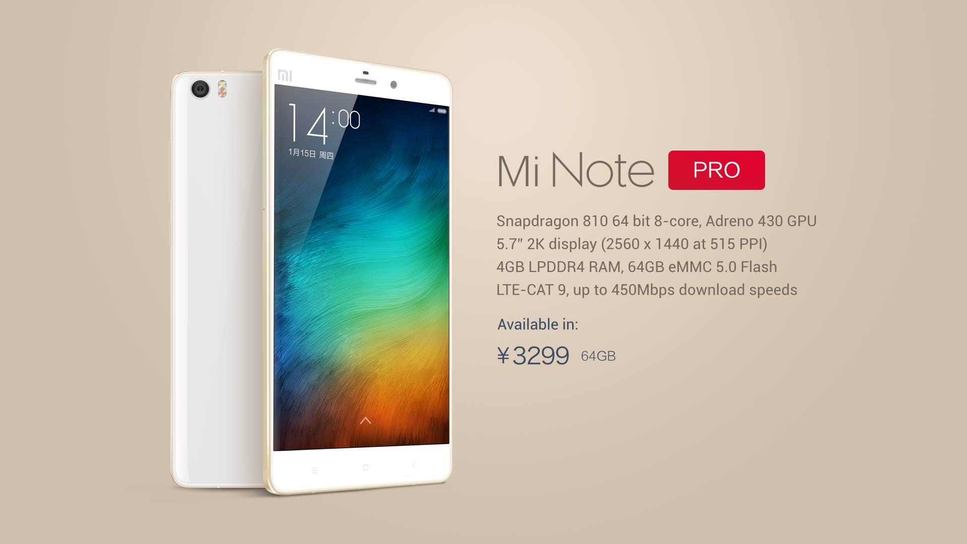 Xiaomi Mi Note Pro có kết nối 4G LTE