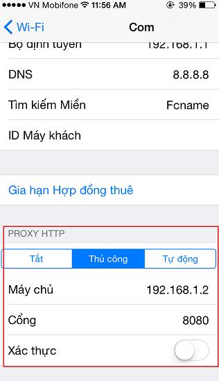 Đỗi Proxy trên iPhone 5s