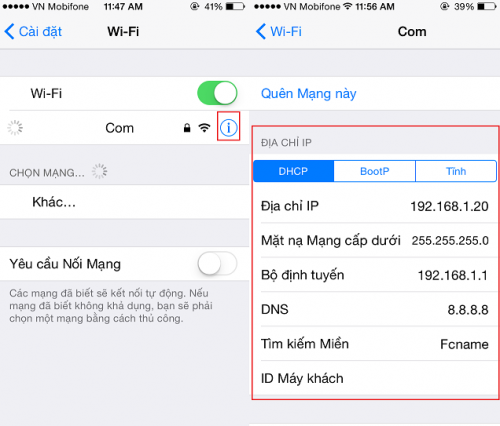 Đối DNS trên iPhone 5s