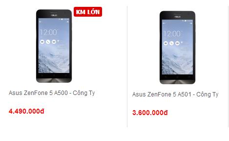 Giá bán Asus Zenfone 5 A500 và A501 tại Techone
